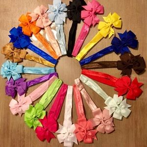 Other - 🎀New 20 Baby Kids Hair Bow Headbands - Stretchy🎀